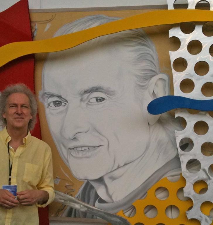 """The Last Portrait of Roy Lichtenstein by Ceravolo"", 74x82x10 Oil & Aluminum For Sale 6"