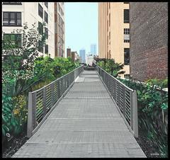 "The High Line, 16x17x1.5"", acrylic on Masonite,"