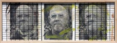 Triple Chuck Close, 15x41, Oil, encaustic, steel grid and archival pigments