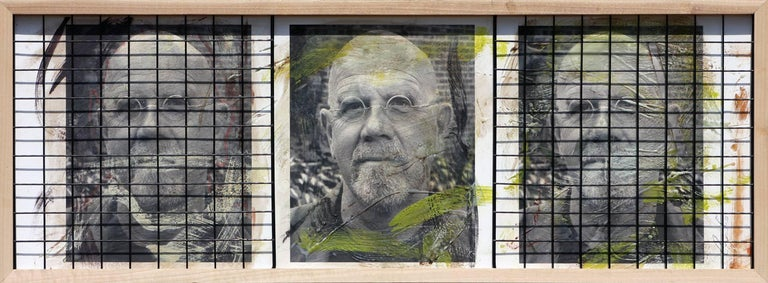 Ceravolo Portrait Photograph - Triple Chuck Close, 15x41, Oil, encaustic, steel grid and archival pigments