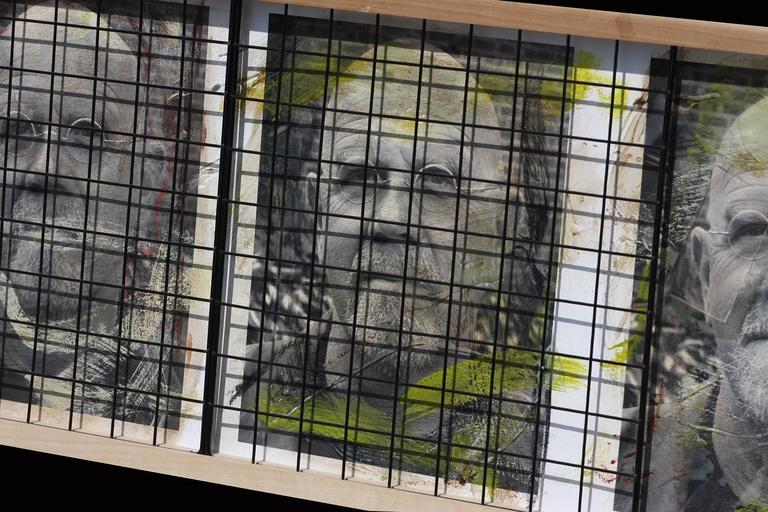 Triple Chuck Close, 15x41, Oil, encaustic, steel grid and archival pigments  For Sale 1
