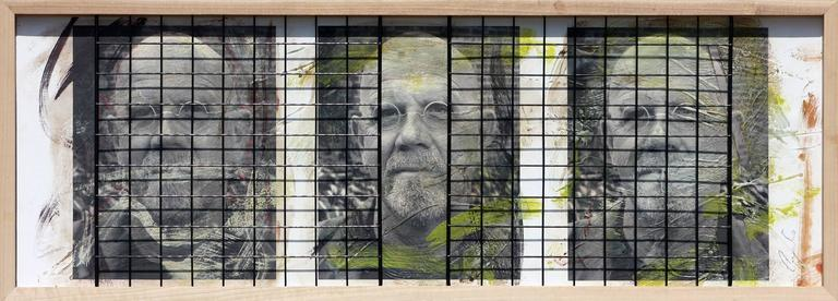 Triple Chuck Close, 15x41, Oil, encaustic, steel grid and archival pigments  - Photograph by Ceravolo