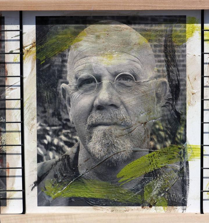 Triple Chuck Close, 15x41, Oil, encaustic, steel grid and archival pigments  - Contemporary Photograph by Ceravolo