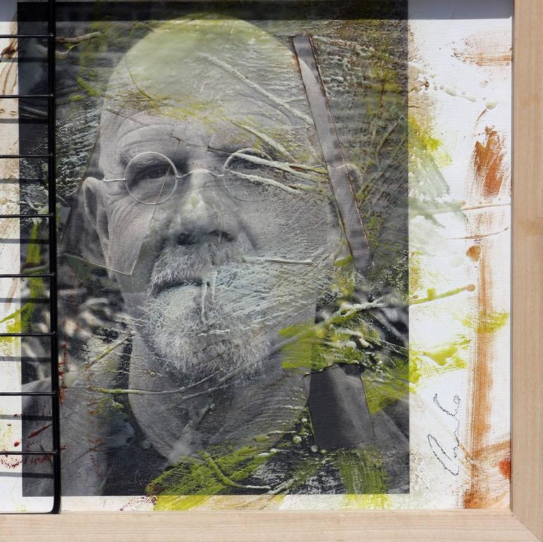 Triple Chuck Close, 15x41, Oil, encaustic, steel grid and archival pigments  - Gray Portrait Photograph by Ceravolo