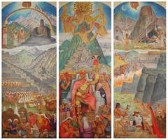 1949 Three Panel Screen depicting, The Conquest of Peru, by T. Allain