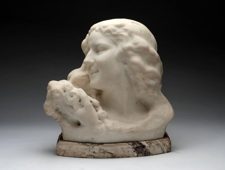 Bust of a Girl - Gray Figurative Sculpture by Frans Jochems