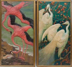 Pair of Decorative Panels of Flamingos and Cranes