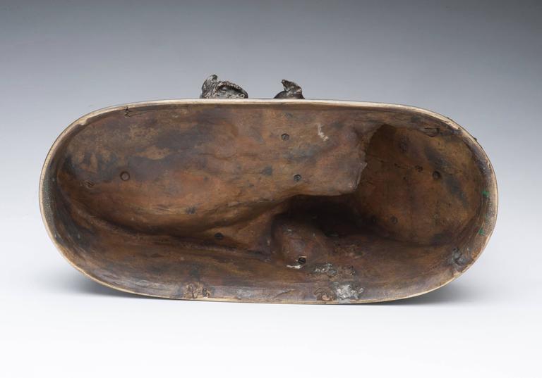 Chasse Au Lapin (The Rabbit Hunt) - Gold Figurative Sculpture by Pierre Jules Mêne