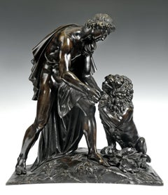 19th C. French Bronze of Androclus and the Lion