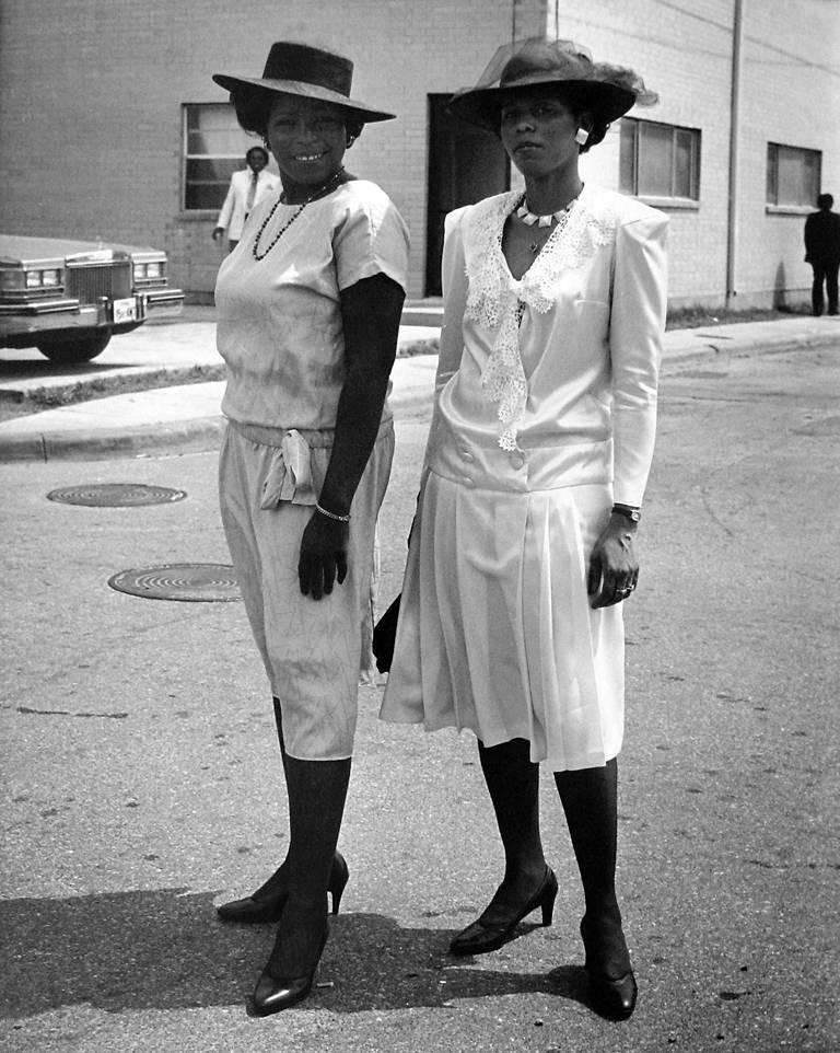 Earlie Hudnall Jr. Black and White Photograph - Two Sisters, Easter Sunday, 4th Ward, Houston, TX