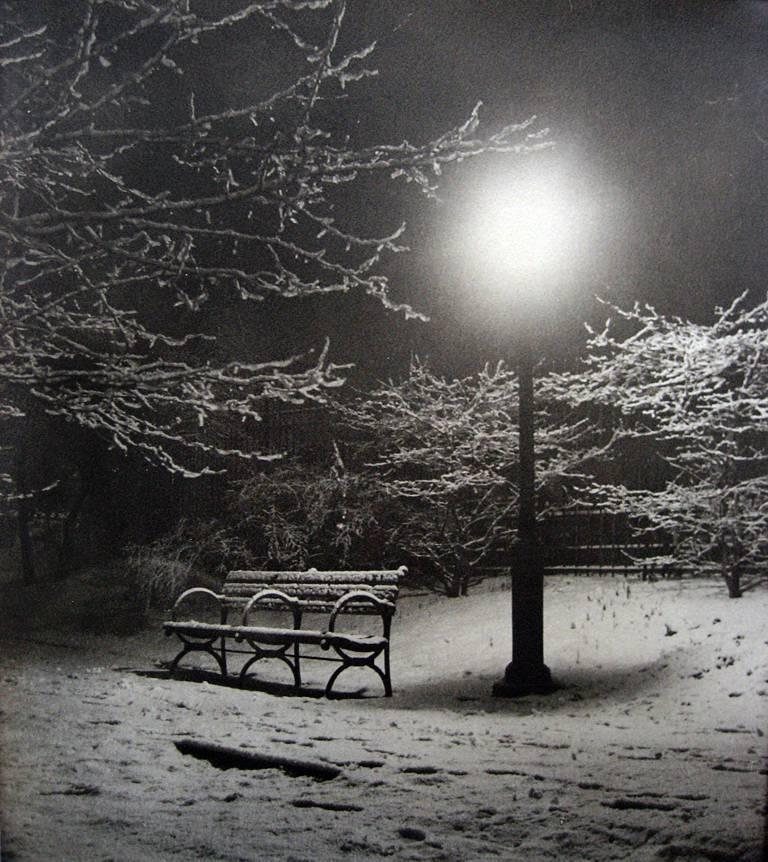 John Albok Black and White Photograph - Central Park (Bench in Snow)