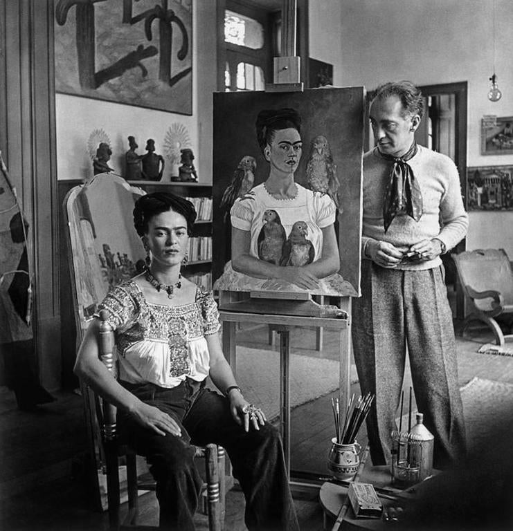 "Frida Painting ""Me and my Parrots"" (with Nickolas Muray) - Photograph by Nickolas Muray"