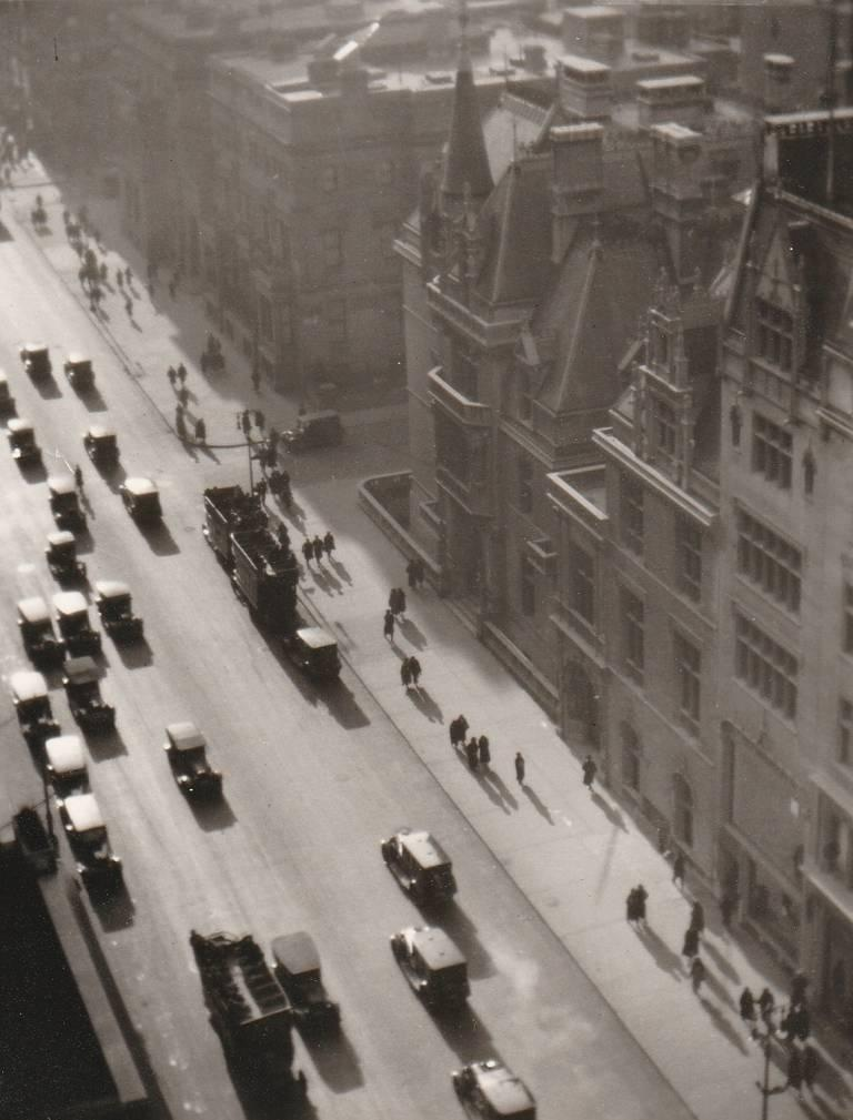 Ralph Steiner Black and White Photograph - Misty Day on Fifth Avenue