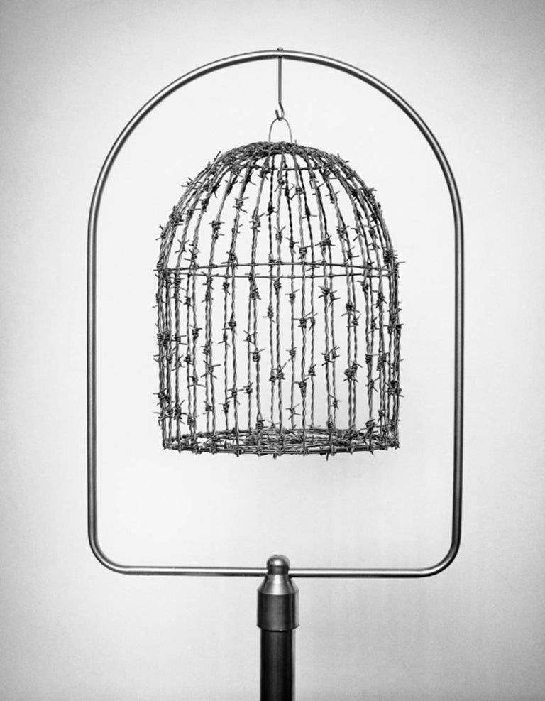 Chema Madoz Still-Life Photograph - Untitled (Barded Wire Bird Cage)