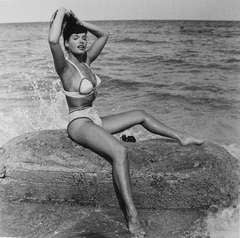 Bettie Page Seated on cement in surf-white 2pc at 51st