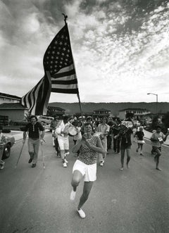 Parade Woman Holding American Flag, from Suburbia