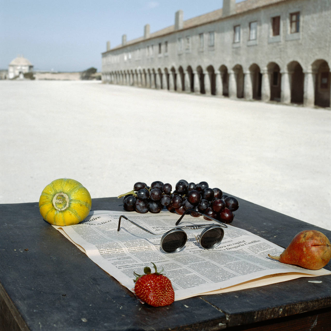 Geof Kern Color Photograph - Still Life with Fruits and Newspaper