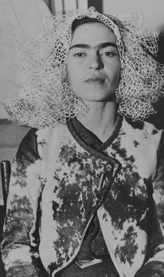 Frida Kahlo with Doily on her Head