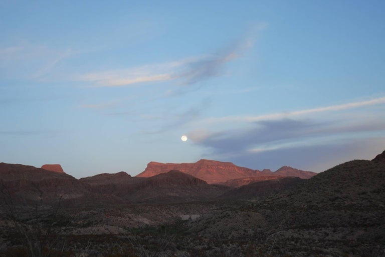Peter Brown Landscape Photograph - West Texas: Full moon over the Chisos Mountain, Big Bend National Park