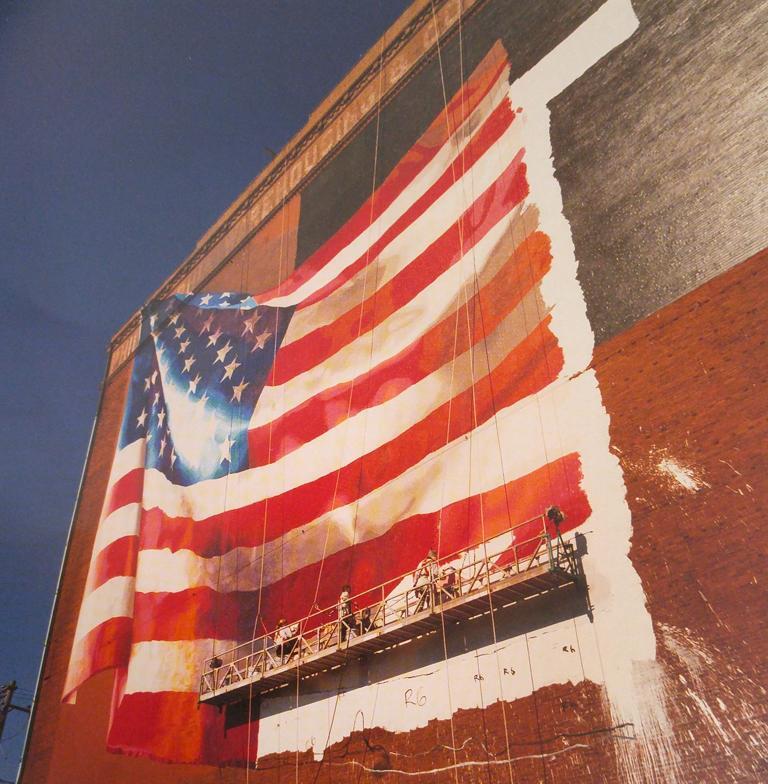 David Graham Color Photograph - Flag, Delaware Avenue, Philadelphia, Pennsylvania