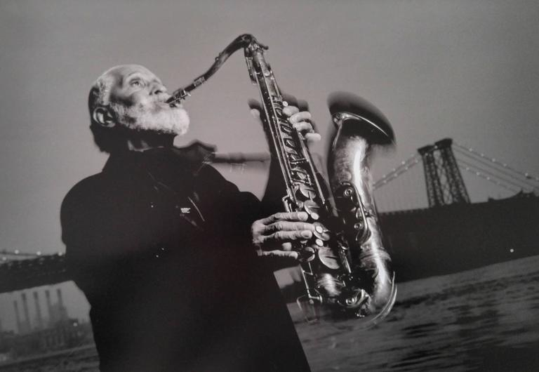 Jimmy & Dena Katz Black and White Photograph - Sonny Rollins, Williamsburg Bridge, NYC; From Jazz Katz: The Sounds of New York