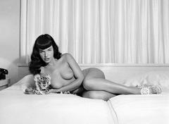Bettie Page Reclining with Stuffed Animal