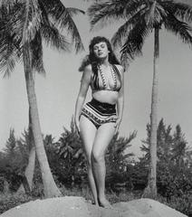 Bunny Yeager self-portrait with Seminole Indian swimsuit