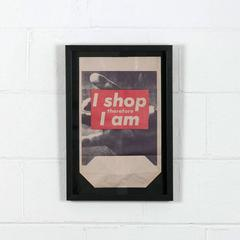 "Barbara Kruger - ""I Shop Therefore I Am"" framed shopping bag multiple"