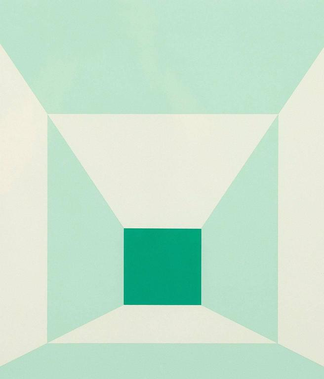 Mitered Squares - Miami Green - Print by Josef Albers