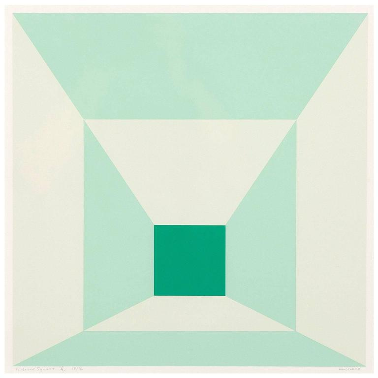 Josef Albers Abstract Print - Mitered Squares - Miami Green