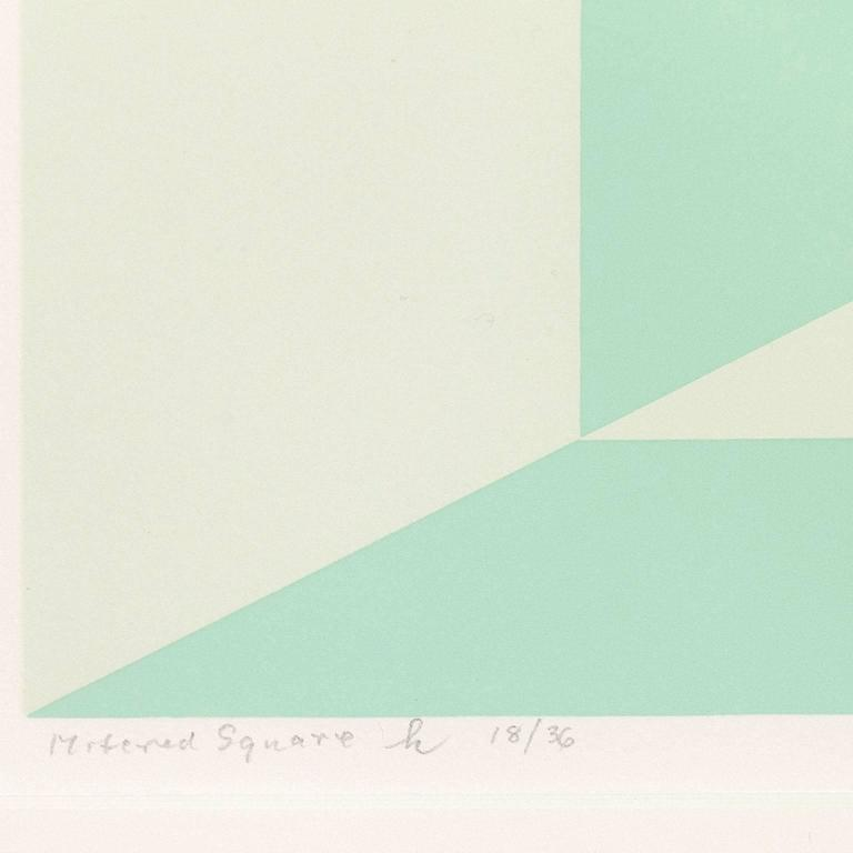 Mitered Squares - Miami Green - Abstract Geometric Print by Josef Albers