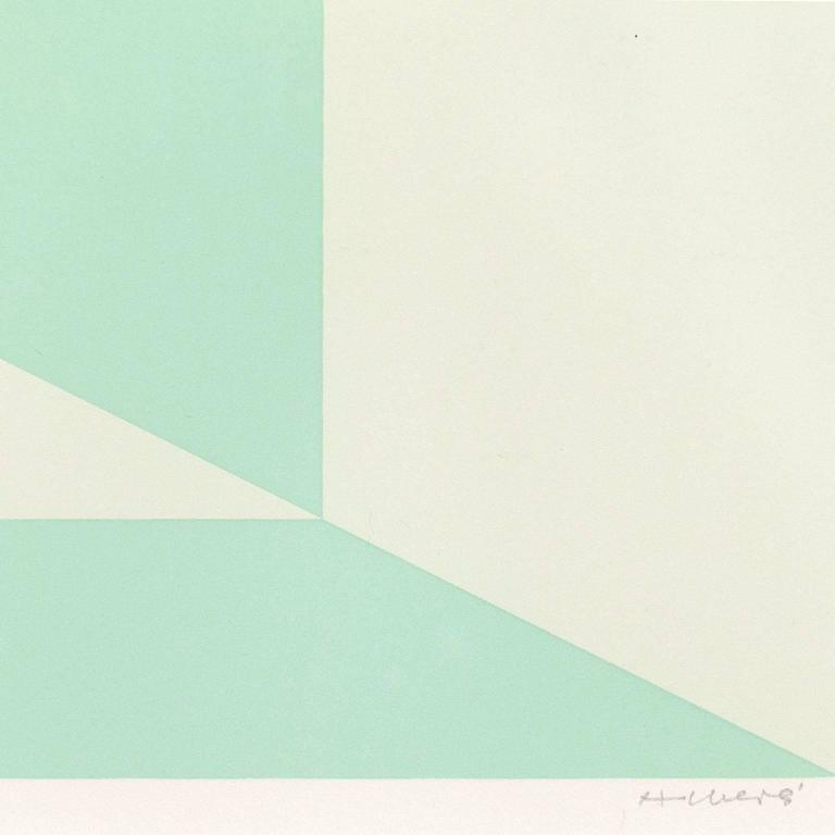 Mitered Squares - Miami Green - Gray Abstract Print by Josef Albers
