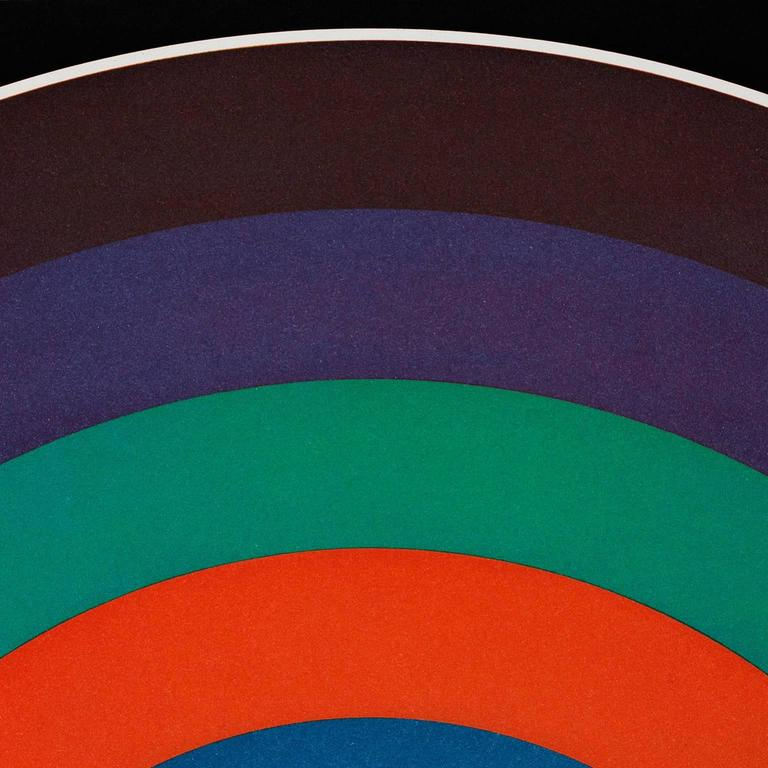 7 Equal Arcs - Blue Abstract Print by Sol LeWitt