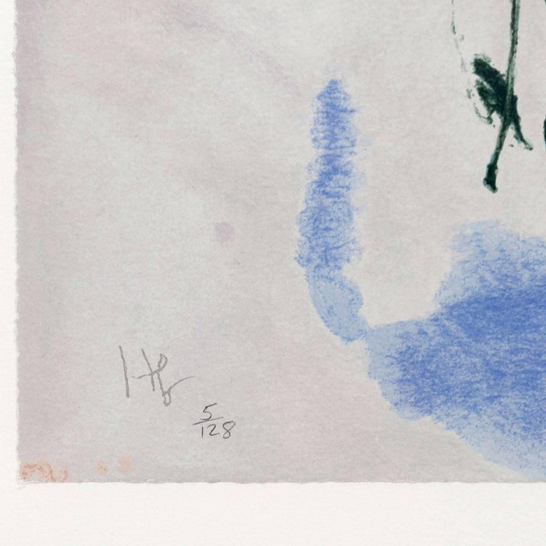One of the most remarkable characteristics of Helen Frankenthaler's lengthy and impressive career is how during each decade the artist experiments and evolves.   This later work is one of her finest prints and encapsulates many of the best aesthetic