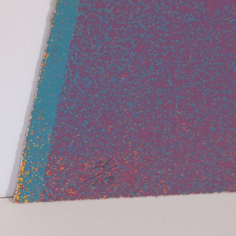 GRAPHIC SUITE I (MAUVE/BLUE) - Gray Abstract Print by Jules Olitski