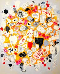 Colorful abstract painting with texture, Unapologetic Sun spots
