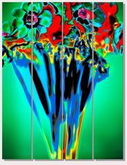Albert Delamour - Human size Flower bouquet on green background, BlueSol,
