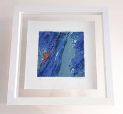 Bleu tone, fine art print, framed
