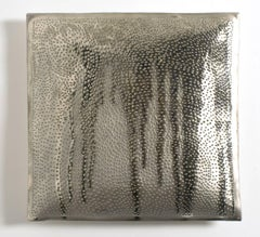 Silver porcelain pillow with drips of silver glaze, Color Study