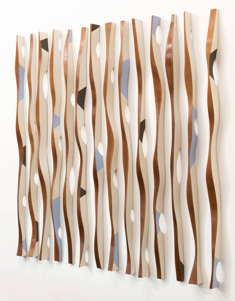 Mural installation, wood sculpture, kinetic, Origines Antipodes 22