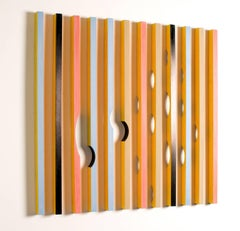 Wood Installation, wood carved sticks, colorful mural sculpture