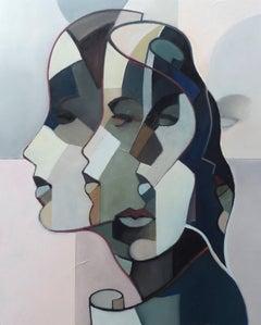 woman heads, pastel color