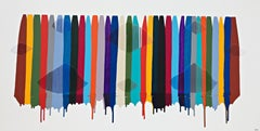 Colorful drips stripes and embroidery, abstract painting