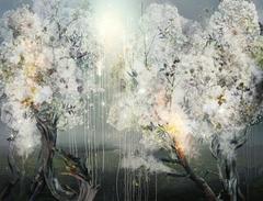 Cosmic Nursery, dreamlike landscape, photo painting of an imaginary world
