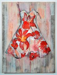Dress with red Flowers, painting