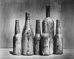 Homage to Morandi, Black and white still life photography, Painted Bottles