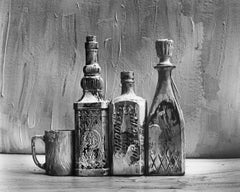 Homage to Morandi, Painted Bottles , Black and white still life photography