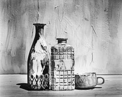 Black and white Still life photography, Picture of Painted Bottles and Cup