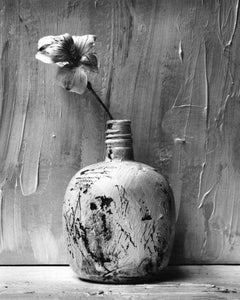 Black and white Still life photography, Picture of Painted Bottle with Flower