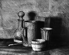 Photo of drawing on paper, wrapped around objects. Black and White photography.